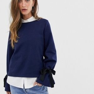 J.Crew Navy Tie Sleeve Sweatshirt Medium